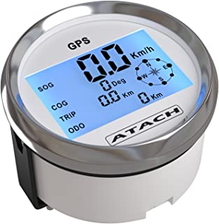 AndyTach 3-3/8'' ATACH DIGITAL GPS speedometer with high speed recall (WHITE/STAINLESS BEZEL)