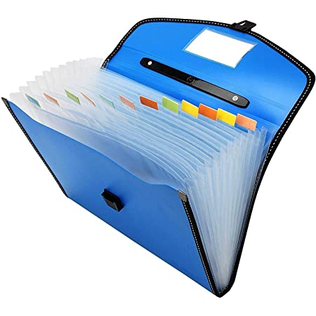 FASTUNBOX (LABEL) Expanding File Folder, Accordion Document/Letter A4 Size File Organizer with Handle and 13 Pockets - Assorted Colour