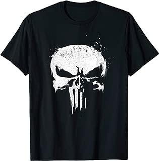 Marvel The Punisher White Ink Splatter Skull Logo T-Shirt