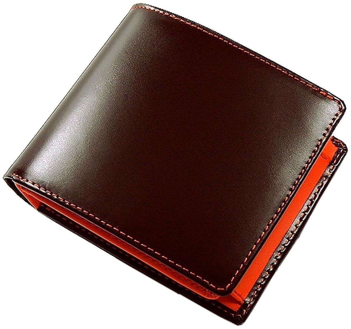 メーカーペア疑い者高級コードバン×牛革2つ折り財布 [ Maturi 091 ] メンズ財布 (ブラウン×オレンジ)