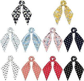 YADOCA 10Pcs Silk Satin Hair Scrunchies Hair Scarf with Bow Silk Elastic Hair Bands for Ponytail Holder Hair Accessories f...