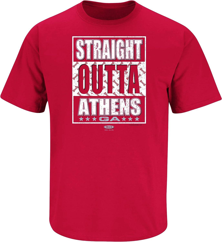 Sm-5X Red T-Shirt Straight Outta Athens Smack Apparel Georgia Football Fans