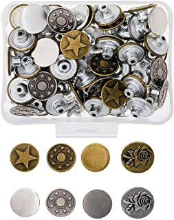 Eyech 80 Set 17mm Replacement Jeans Buttons Metal Button Snap Buttons Replacement Kit-8 Styles