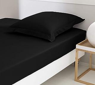 ELENA PARIS - Drap Housse 100% Coton Percale 78 Fils/cm² (Noir, 180_x_200_cm) Bonnet 28 cm