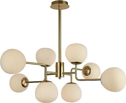 Lustre Suspension 8 Lampes, Style Moderne, Art Deco, Armature En Métal  Couleur Or