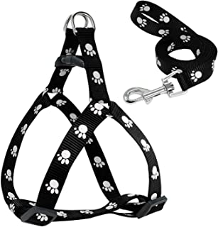 Paw Print Small zeoqo Harness and Leash Soft Nylon Pet Walking Harness Vest for Chihuahua Yorkshire Terier Schnauzer