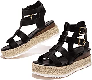 SODA Women's Open Toe Ankle Strap Espadrille Sandal Black...