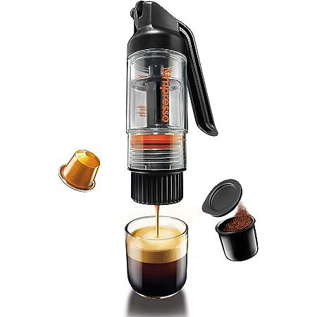 Simpresso ポータブルエスプレッソメーカー | コンパクトなトラベルコーヒーメーカー ネスプレッソポッド&エスプレッソグラウンドコーヒーに対応 | 手動操作 | プレミアムトラベルパッケージ すべてのアクセサリー付属
