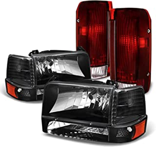 Fits 1992-1996 Ford F150 F250 F350 Bronco Pickup Truck Black Headlights + Dark Red Tail Brake Lamps Pair Left+Right