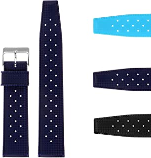 StrapsCo Vintage Dive Perforated Silicone Rubber Rally Watch Band Strap 20mm 22mm