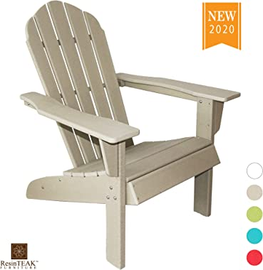 ResinTEAK HDPE Poly Lumber Adirondack Chair, Sand Grey | Adult-Size, Weather Resistant for Patio Deck Garden, Backyard & Lawn Furniture | Easy Maintenance & Classic Adirondack Chair Design…