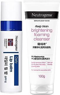 Neutrogena Norwegian Formula Lip Moisturizer For Dry Lip With SPF 15, 4g & Neutrogena Deep Clean Brightnening Foaming Clea...