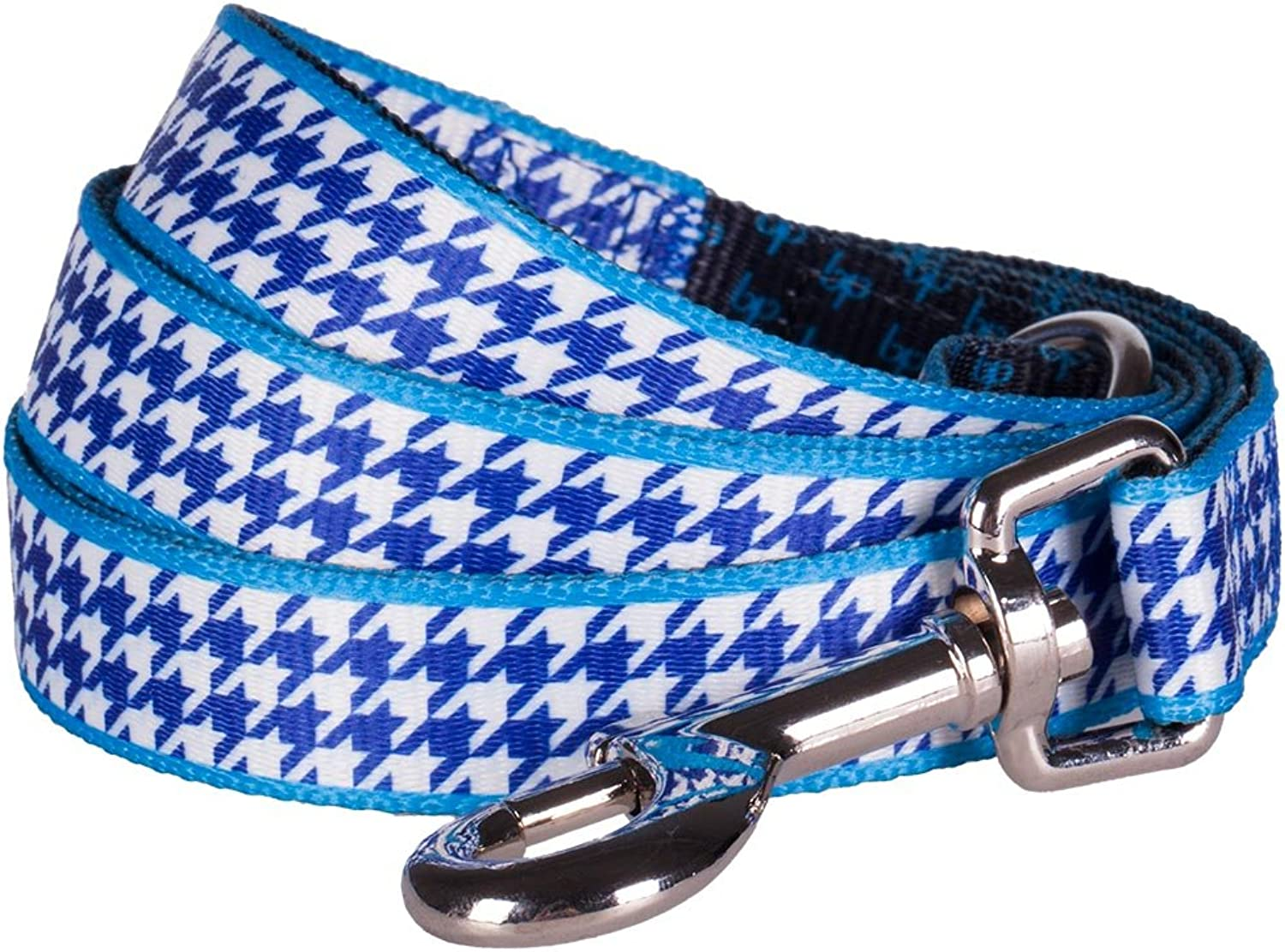 blueeberry Pet Durable Classy Houndstooth Statement Dog Leash 4 ft x 1  in Royal bluee, Large, Leashes for Dogs