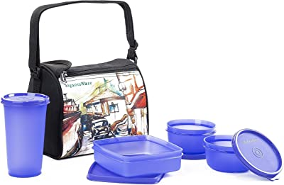 Signoraware Malgudi Plastic Lunch Box Set, 4-Pieces, Violet
