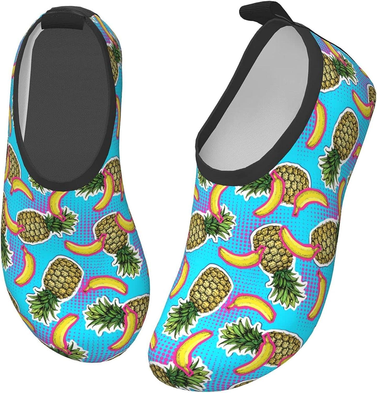 Jedenkuku Blue Banana Pineapple Fruit Children's Water Shoes Feel Barefoot for Swimming Beach Boating Surfing Yoga
