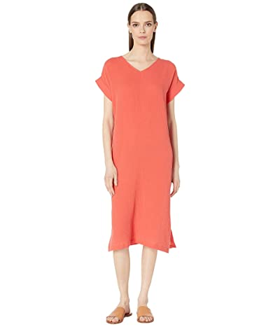 Eileen Fisher Organic Cotton Lofty Gauze V-Neck Dress (Red Lory) Women