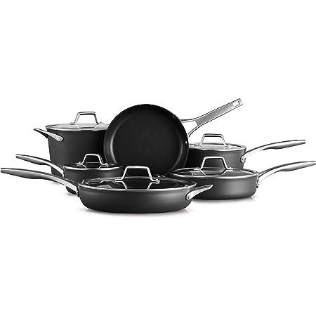 Calphalon Premier Hard-Anodized Nonstick 11-Piece Cookware Set, Black