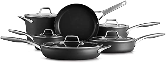 Calphalon Premier Hard-Anodized Nonstick 11-Piece Cookware Set, Black
