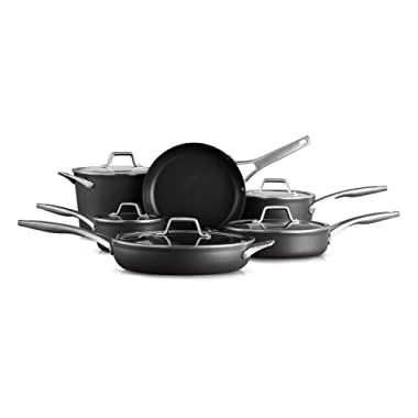 Calphalon Premier Hard-Anodized Nonstick 11 Piece Cookware Set, Black