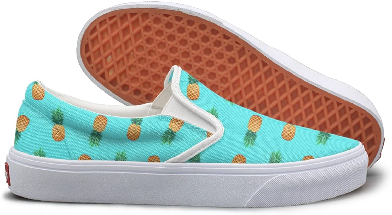 SEERTED Tropical Fruit Pineapple Womens Slip On Canvas shoes