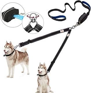 Snagle Paw Upgraded Double Dog Leash,2 Handle Dual Dog Leash for Large Dog Up to 180lbs,Tangle Free 2 Dog Walking Leash with Adjustable Reflective Lead, Bonus Pet Waste Bag Dispenser