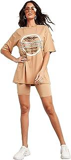 South Dakota Graphic Printed Oversized T-Shirt For Women's Beige Closet by Styli