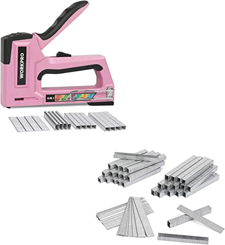 wholesale WORKPRO Pink Staple Gun, 6-in-1 Manual wholesale Brad Nailer with 4000-Pieces Staples and 7500-Count 2021 Heavy Duty T50 Staples and Brad Nails Combo Kit sale
