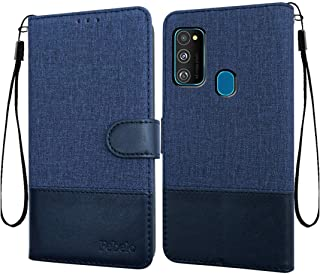 Febelo Case for Samsung M30s / Samsung M31 / Samsung M21 | Magnetic Lock | Dual Color | Inside TPU with Card Holder | Wallet Stand 360 Degree Protection Flip Cover for Samsung M30s / Samsung M31 / Samsung Galaxy M21 - Vintage Blue