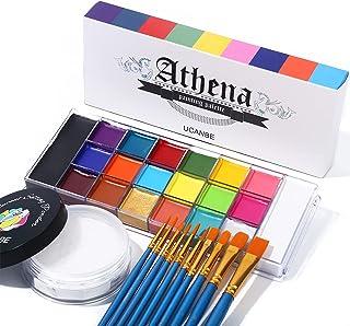 UCANBE Athena Face Body Paint Oil Palette + Translucent Setting Powder + 10PCS Brushes Set, Professional Non Toxic Face Pa...