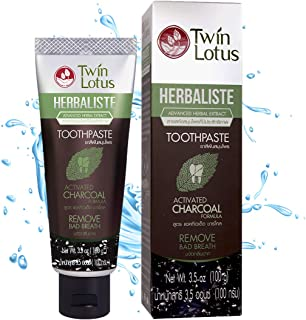 TWIN LOTUS Charcoal Toothpaste Free Sls No Fluoride Teeth Whitening Coconut Charcoal Toothpaste Whitening Activated Charcoal Vegan Eliminates Bad Breath
