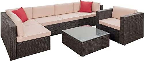 high quality Flamaker 7 Pieces Sectional Patio Sofa Wicker Sectional popular Furniture Set Patio Cushioned Furniture Set Outdoor 2021 Rattan Sofa Set with Cushions and Coffee Table (7 Pieces) online