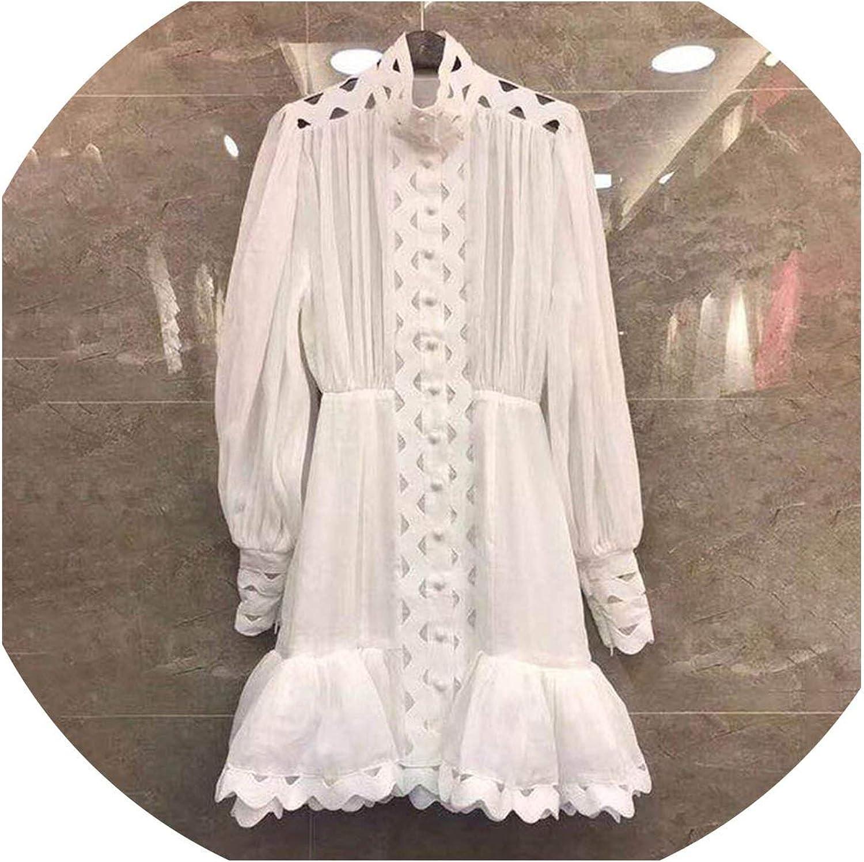 Threeflower Bodycon Dress Female Lantern Long Sleeve High Waist Hollow Out Ruffle Hem Shirt Dresses