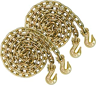 Vulcan Grade 70 3/8'' x 10' Safety/Binder Chain with Clevis Grab Hooks - 6,600 lbs. Safe Working Load (2-Pack)