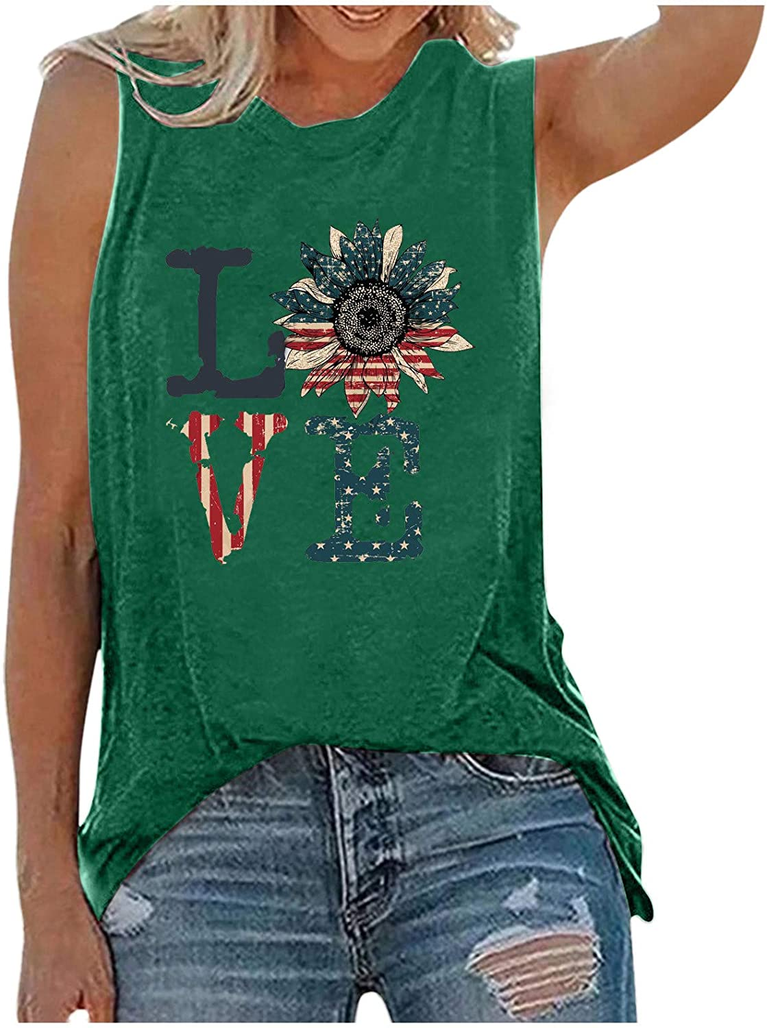 Summer Tops for Women Sexy,Tank Tops Shirts for Women American US Flag Graphic Patriotic Tank Tops Shirts