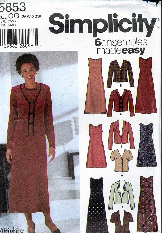 Simplicity 5853 Women's / Women's Petite Jackets and Knit Dress in Two Lengths; Size GG (26W - 32W)