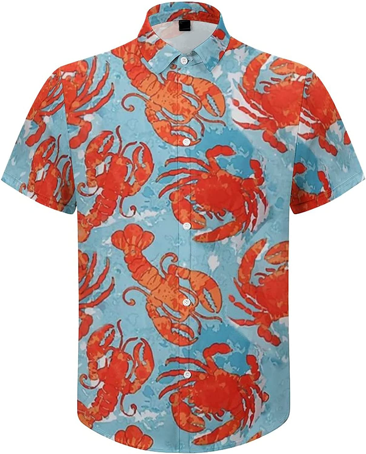 Men Button Down Shirts, Crabs and Lobsters Short Sleeve Shirt Spring Premium Boys Top