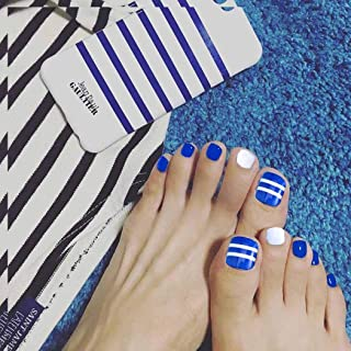 Adflyco Glossy Square Press on Toenails Blue and White Short Fake Toenails Acrylic Full Cover False Toeails for Women and Girls (24Pcs