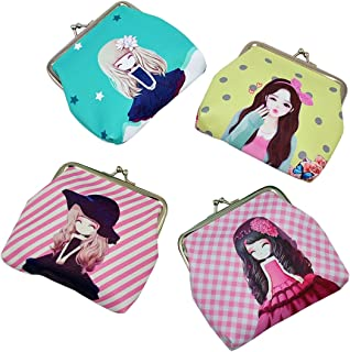 Oyachic 4 Packs Cute Coin Purse Kiss Lock Change Pouch Vintage Clasp Closure Buckle Wallet Small Women Gift