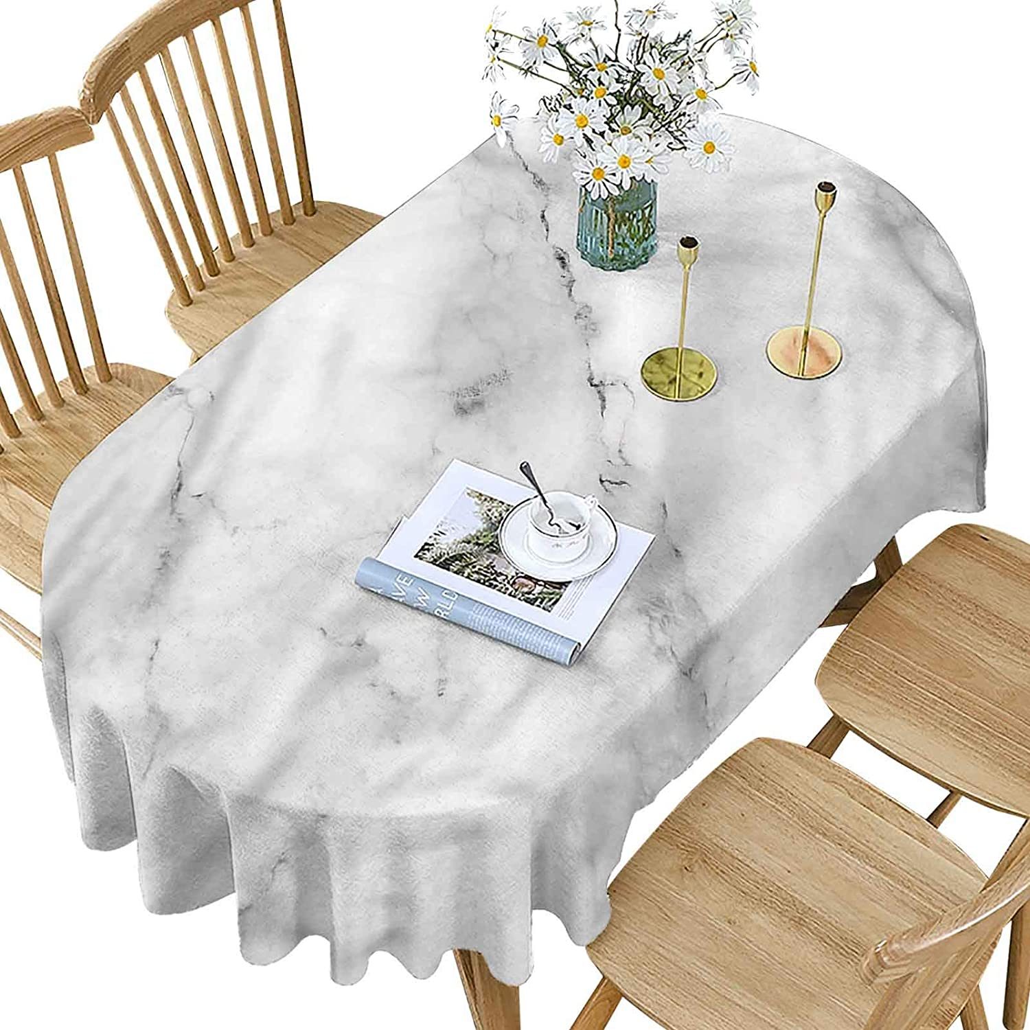 Marble Polyester Oval Tablecloth Houston Mall Granite Manufacturer regenerated product Surface Pattern P Motif