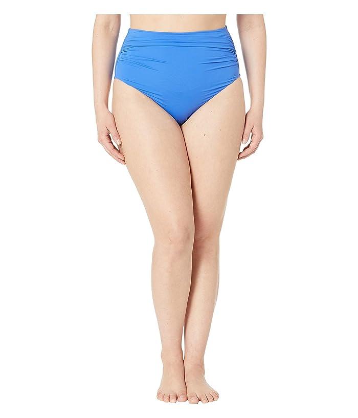 LAUREN Ralph Lauren Plus Size Bias Tribal Ikat Shirred High-Waisted Pant (Sea Blue) Women