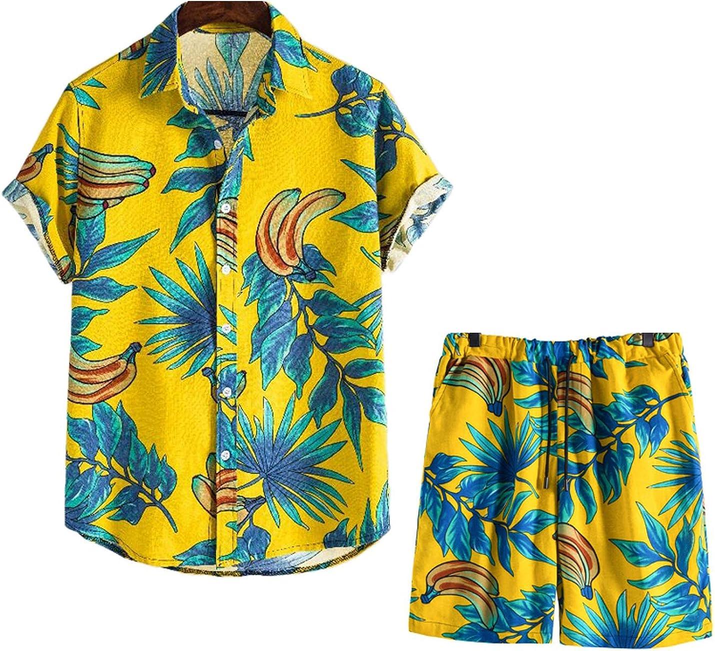 PEHMEA Men's Floral Casual Button Down Short Sleeve Hawaiian Shirt and Shorts Suits