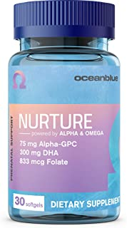 Nurture Prenatal Support by Oceanblue - All-in-One Complete Prenatal Multivitamin with DHA (300mg), Folic Acid (833mcg), Choline (30mg), B12 (10mcg) and More - 30 Softgels