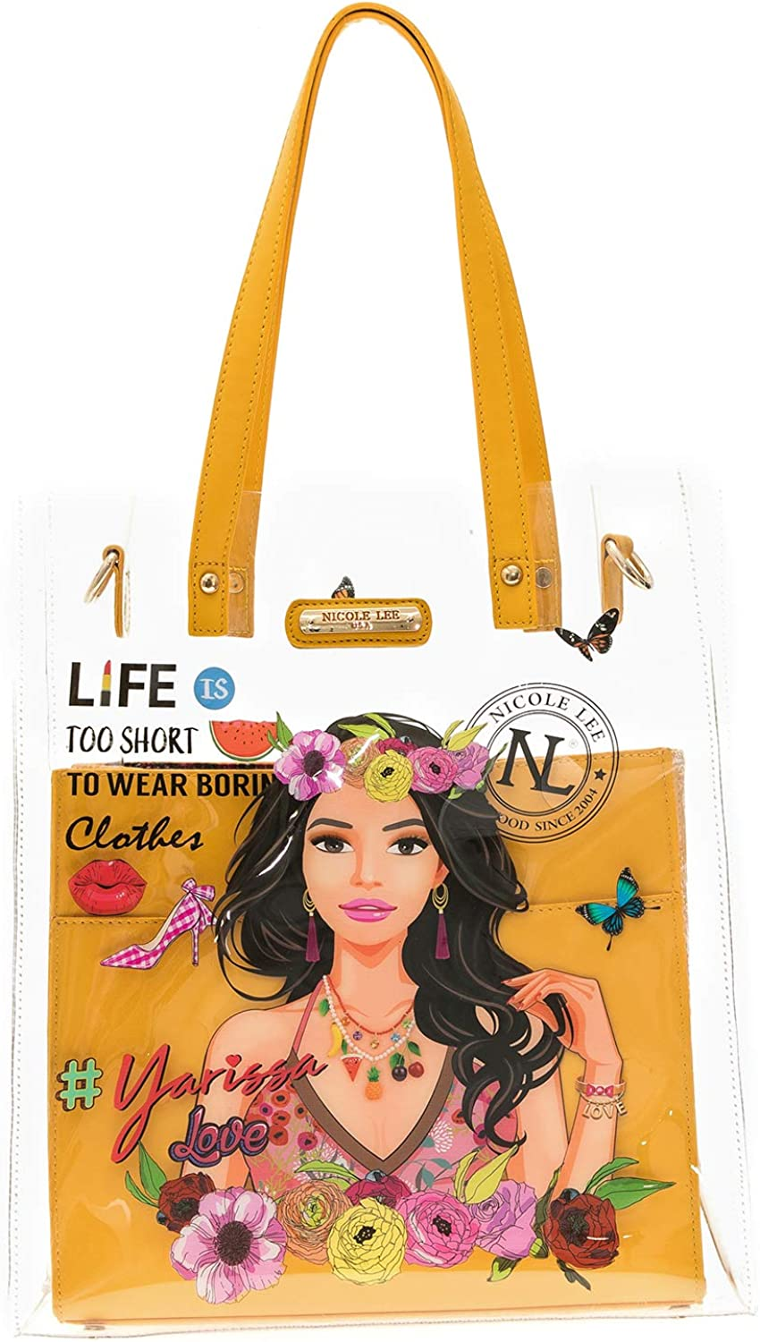Transparent Graphic Tote Bag With Removable Eco Leather Pouch And Shoulder Strap