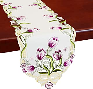Simhomsen Embroidered Tulip Table Runners, Spring Floral Table Linens (Purple, 13 × 54 Inch)