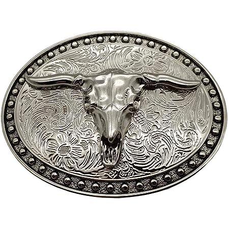 Silver Longhorn Texas Bull Belt Buckle Cowboy Western Buckles