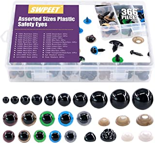 Swpeet 346Pcs 12 Assorted Sizes 5mm-12mm 6 Colors Plastic Safety Eyes with Washer and 40Pcs 2 Sizes 12mm 15mm Noses Set fo...