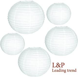 Charmed White Paper lanterns in Assorted size 9, 8 and 6 inches (5 pk)