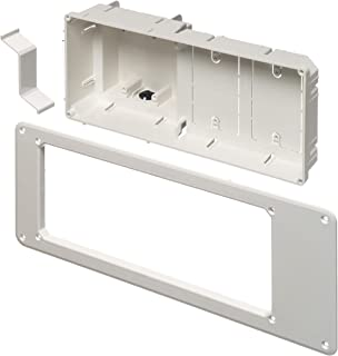 Arlington TVB613-1 Recessed TV Outlet Box with Paintable Trim Plate, White, 4-Gang