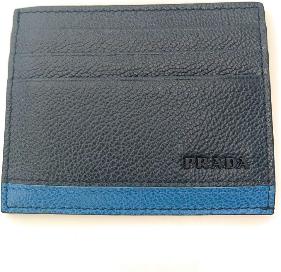 Prada Mens Vitello Micro Grain Bicolor Navy Card Holder 2MC223