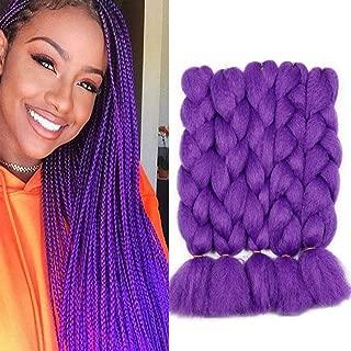 Colorful Bird Yaki kanekalon Braiding Hair Purple Jumbo Braiding Hair High Temperature Synthetic Fiber Hair Extensions for Twist Box Braids 5PCS/Lot 90g/pc 26 inches
